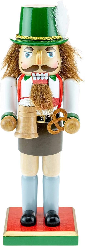 Clever Creations - Cascanueces rechoncho de Navidad Coleccionable - Ideal para mesas y estanterías - Madera - Alemán con Traje bávaro y Jarra de Cerveza - 25,4 cm