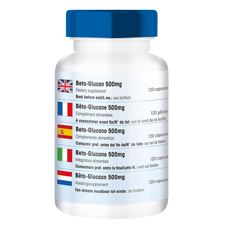Betaglucano 500 mg - 120 cápsulas - Sustancia pura y sin aditivos: Amazon.es: Salud y cuidado personal