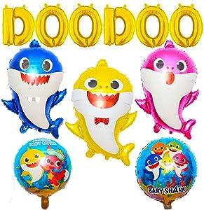 Baby Shark Party Supplies,11 Pcs Shark Family Balloons for Shark Baby Themed Birthday Doo Doo party Balloons.