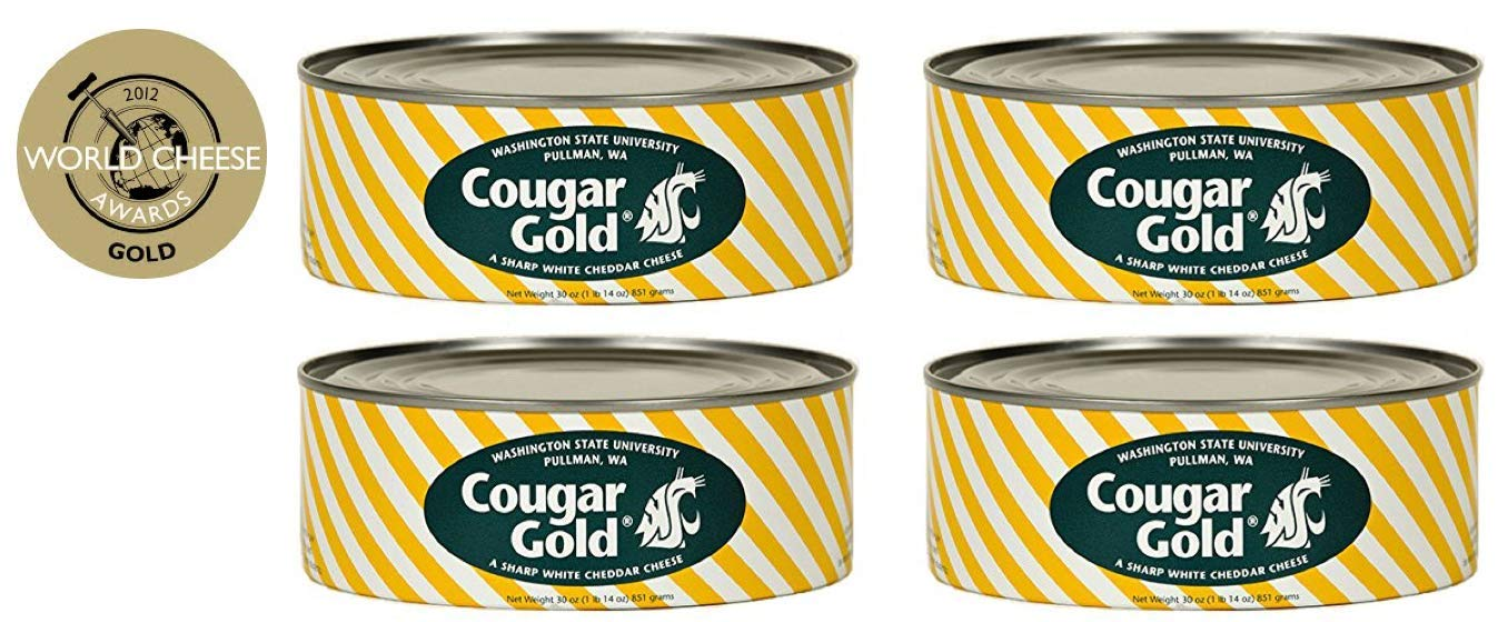 SU Creamery Wazzu Cougar Gold Sharp White Cheddar Cheese (30oz Can) (4-Can Pack)