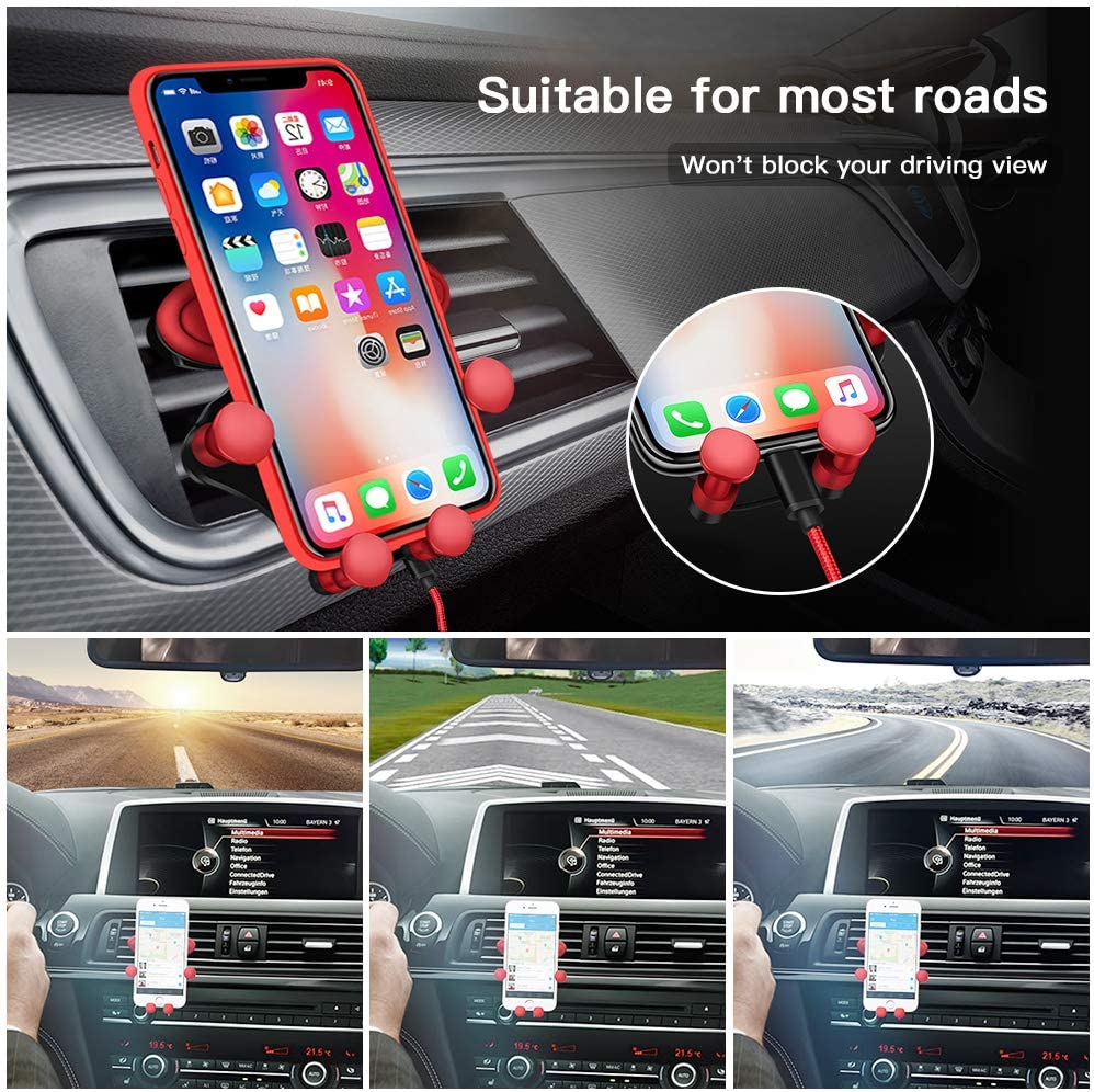Universal Auto-Grip Gravity Car Cell Phone Mount Cradle for iPhone 11 XS Max XR XS 8 7 Plus 6s 6 LG Galaxy Note 9 S10 Plus S9 S8 S7 UrSpeedtekLive Air Vent Phone Holder Google Pixel and More-Red