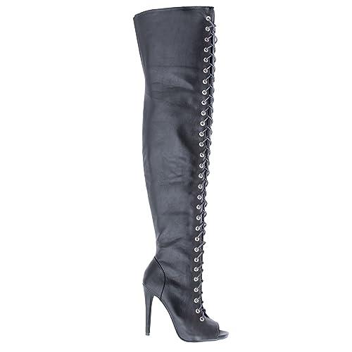 da988047643 Thigh High Peep Toe Corset Elastic Lace Stiletto High Heel Over-The-Knee  Boots