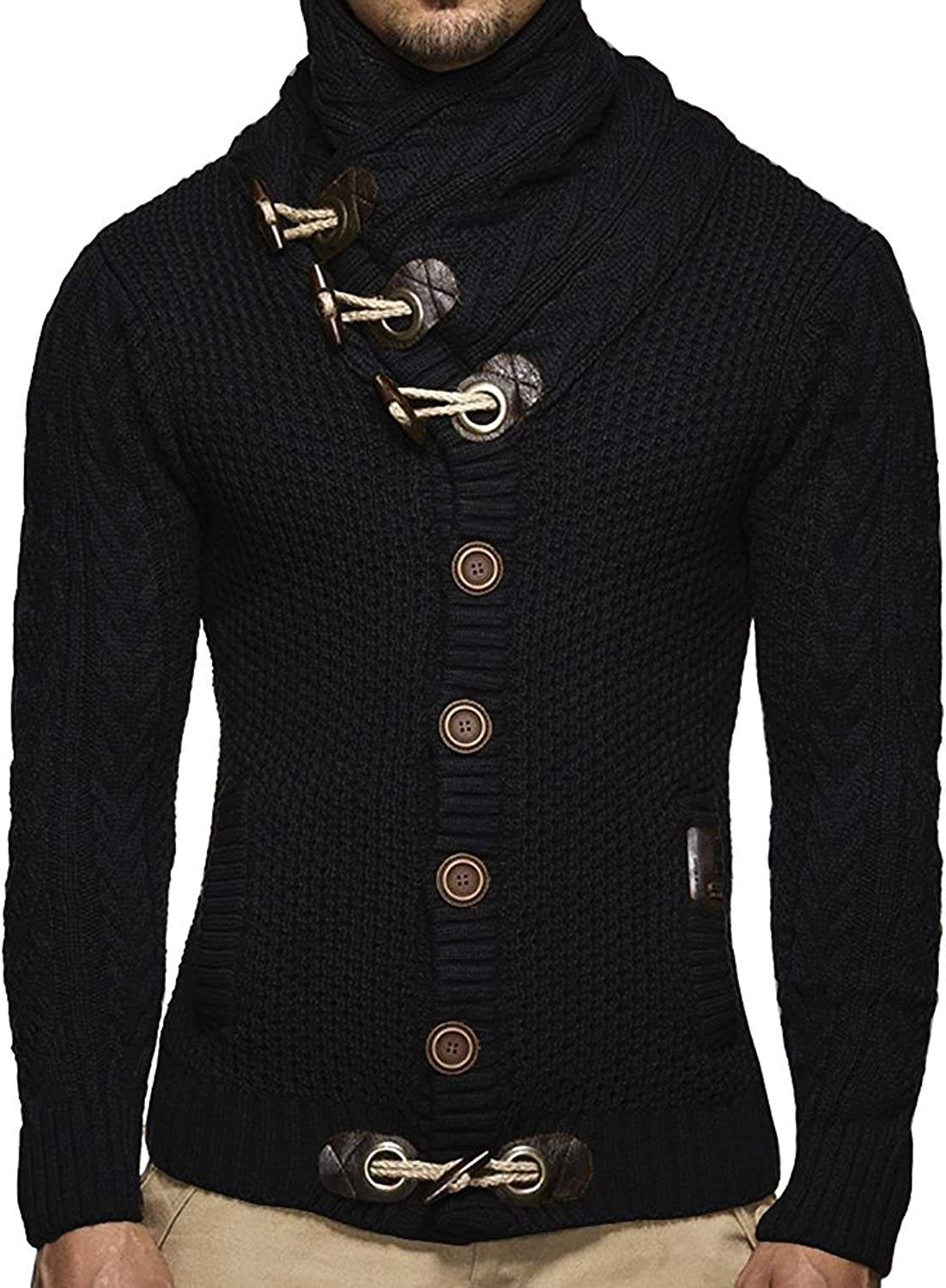 Bbalizko Mens Sweaters Turtleneck Cable Knit Winter Chunky Cardigan Sweater Jacket