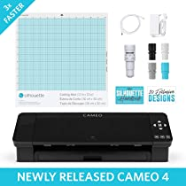 Amazon Com Silhouette Cameo 4 With Bluetooth 12x12 Cutting Mat Autoblade 2 100 Designs And Silhouette Studio Software Black Edition Electronics