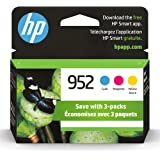 Original HP 952 Cyan, Magenta, Yellow Ink Cartridges (3-pack) | Works with HP OfficeJet 8702, HP OfficeJet Pro 7720, 7740, 82