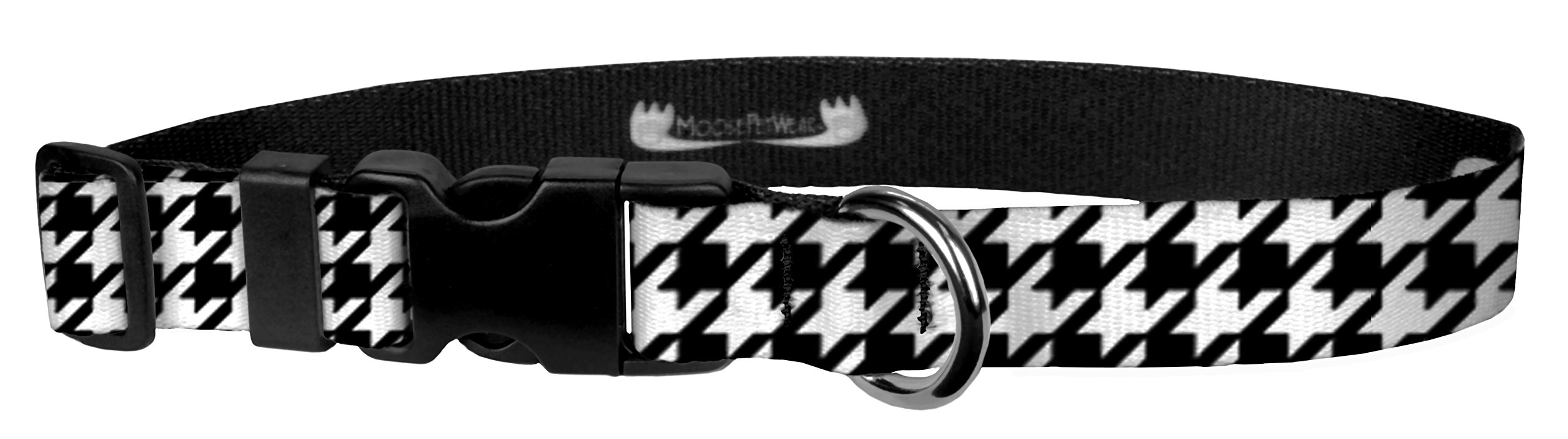 Moose Pet Wear Dog Collar - Patterned Adjustable Pet Collars, Made in the USA - 1 Inch Wide, Extra Large, Houndstooth Black/White