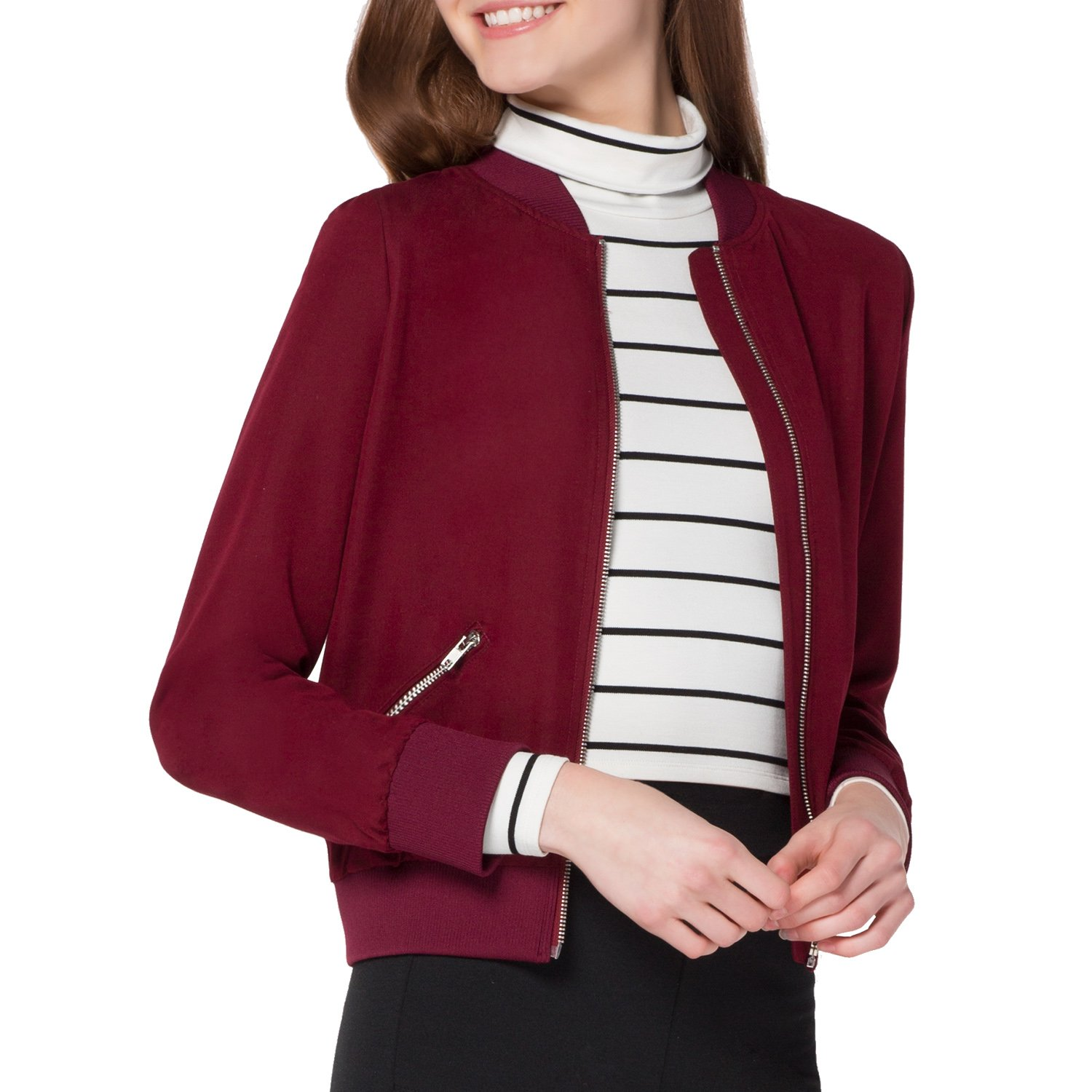 Kat & Emma Classic Style Boxy Womens Bomber Jacket with Two Front Pockets (Cranberry, Small)