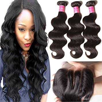 Ali Julia 10 12 14 10 Inch Brazilian Virgin Body Wave Hair Weft 3 Bundles With 1pc 4 4 Three Part Lace