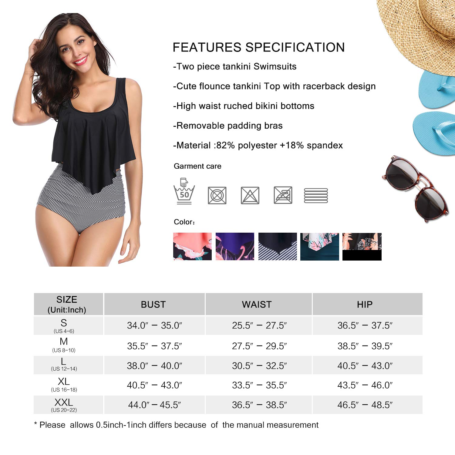 MarinaVida Switmsuit for Women Two Pieces Bathing Suits Top Ruffled Racerback with High Waisted Bottom Tankini Set