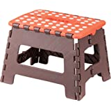 """AZUMAYA 9"""" Height Folding Step Stool Orange and Brown Size Small FKF-621OR"""