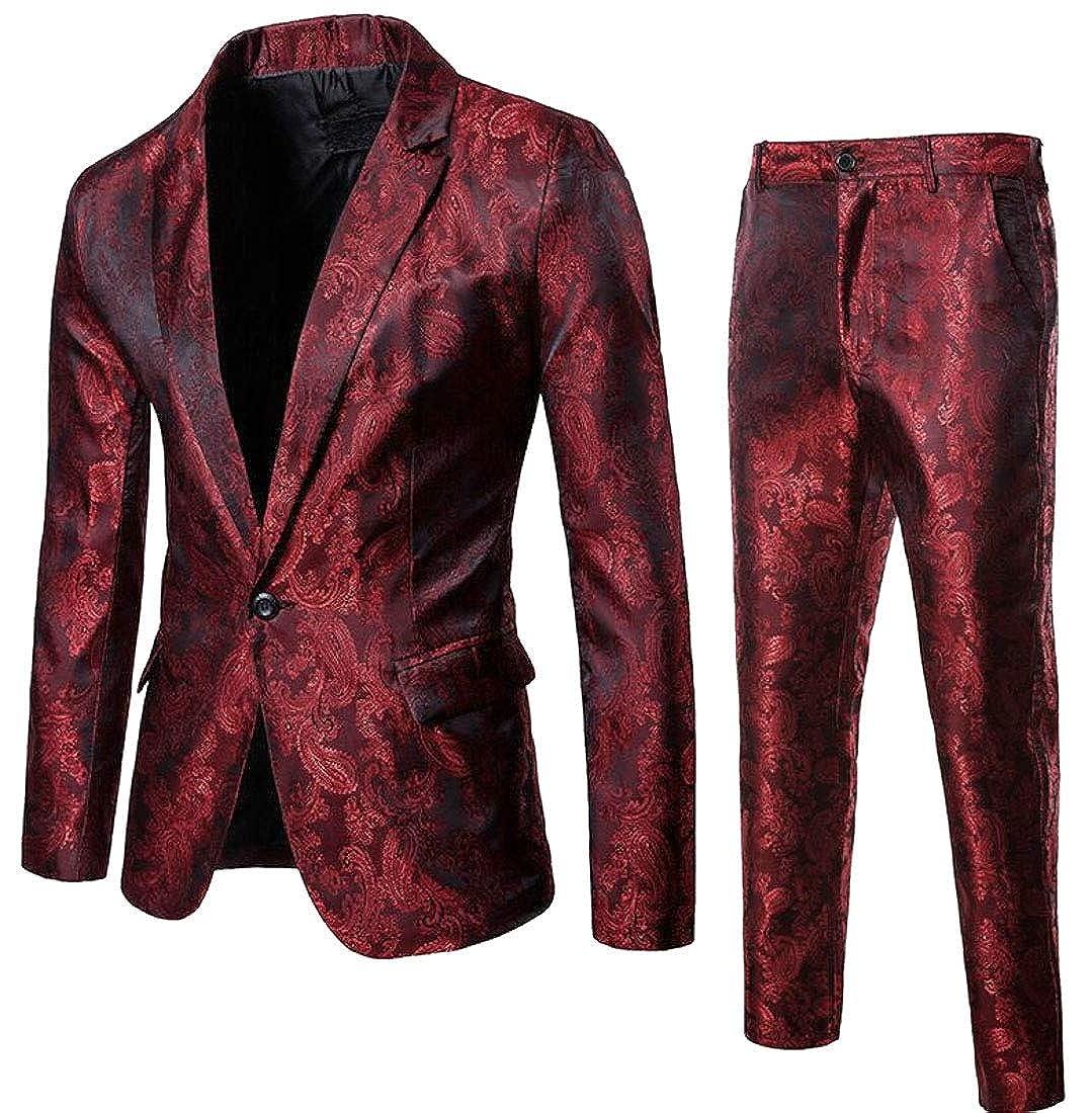 Sanderso Men One Button 2 Piece Suit Business Wedding Party Casual Slim Fit Suit