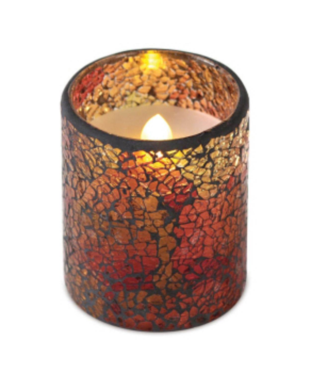 6 Red/Gold/Orange Flameless Wax LED Pillar Candles Glass Mosiac Holders 3'' x 4'' by CC Home Furnishings