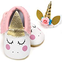 LIVEBOX Baby Premium Soft Sole Infant Toddler Prewalker Anti-Slip Party Dress Crib Shoes with Free Baby Unicorn Headband