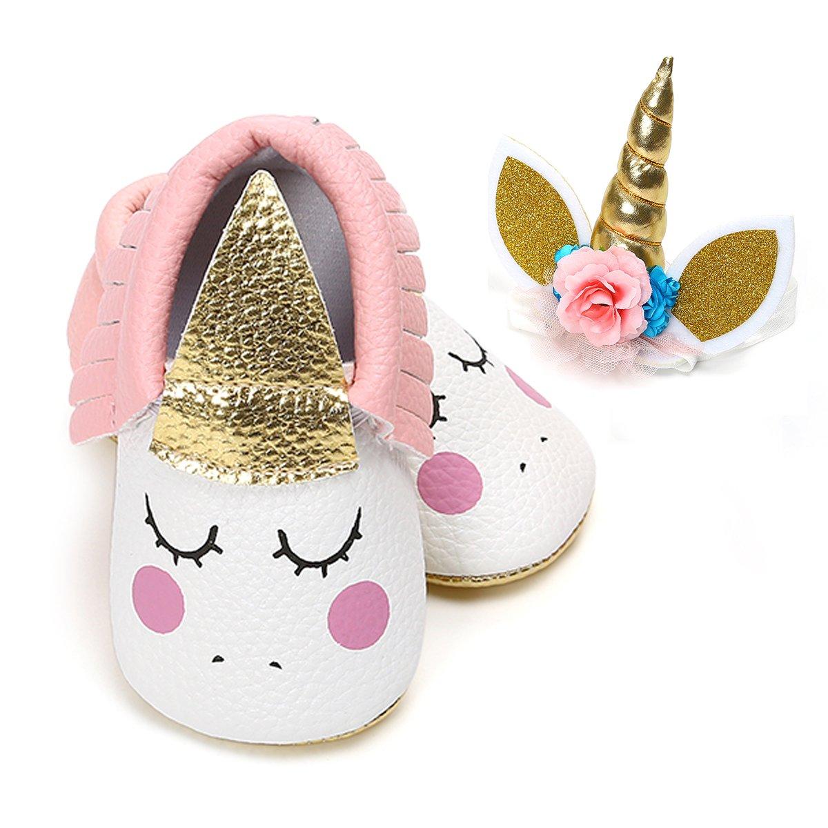 LIVEBOX Baby Premium Soft Sole InfantToddler Prewalker Anti-Slip Party Dress Crib Shoes with Free Baby Unicorn Headband