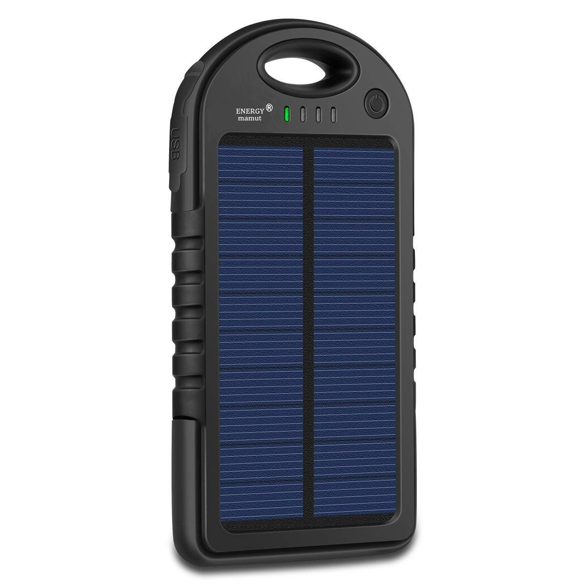 Solar Charger, Energy Mamut 5000mAh Portable Solar Power Bank Waterproof, Shockproof, Dustproof, Dual USB for Cell Phone, iPhone, Samsung, Android, Windows Phone, GoPro Camera, GPS and more. black Mr. Nahw 4335013691