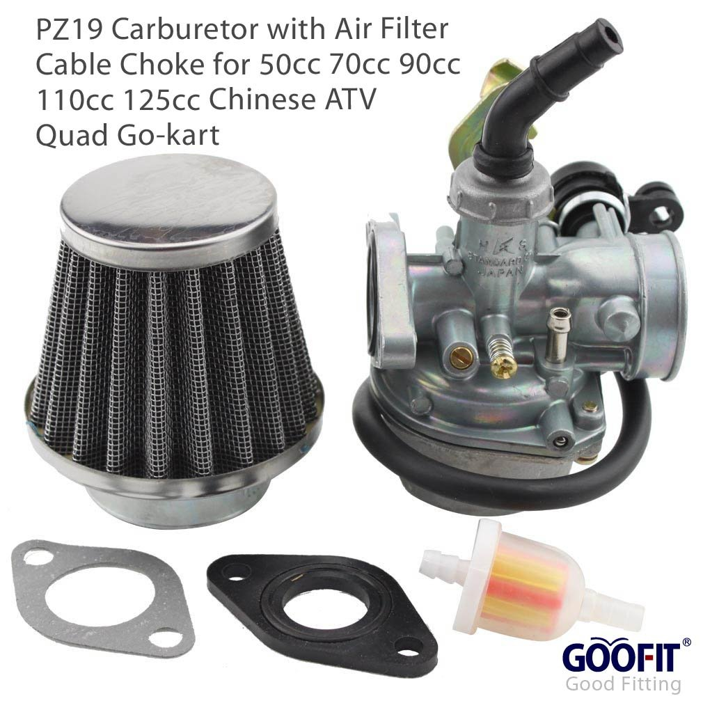 Amazon.com: GOOFIT PZ19 Carburetor with Air Filter Cable Choke for 50cc  70cc 90cc 110cc 125cc Chinese ATV Quad Go-kart: Automotive