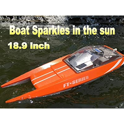 Feilun FT-016O RC Speed Boat, Large, Orange: Toys & Games