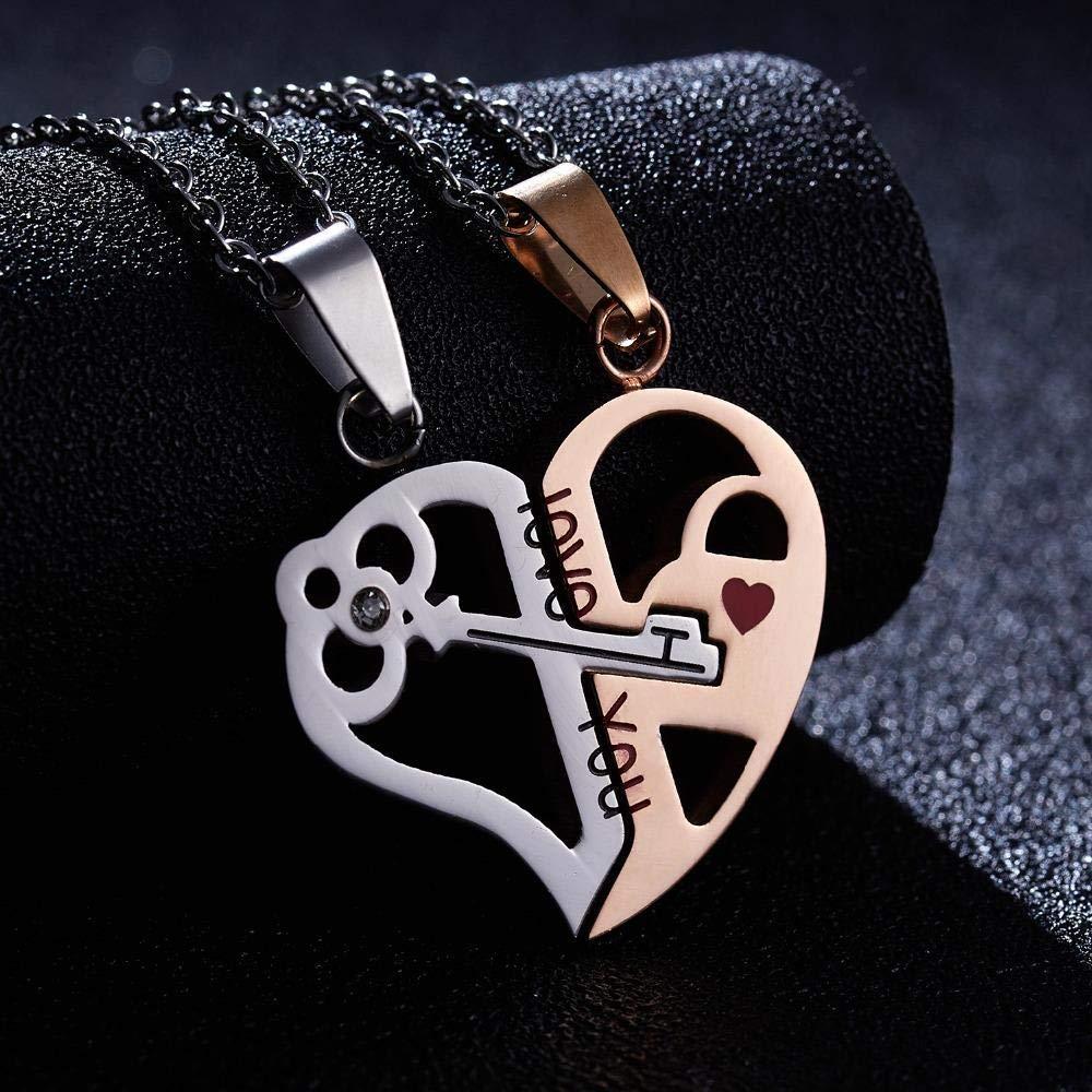 HJTLK Collar de Pareja Llave de corazón Roto Te Amo Collar ...
