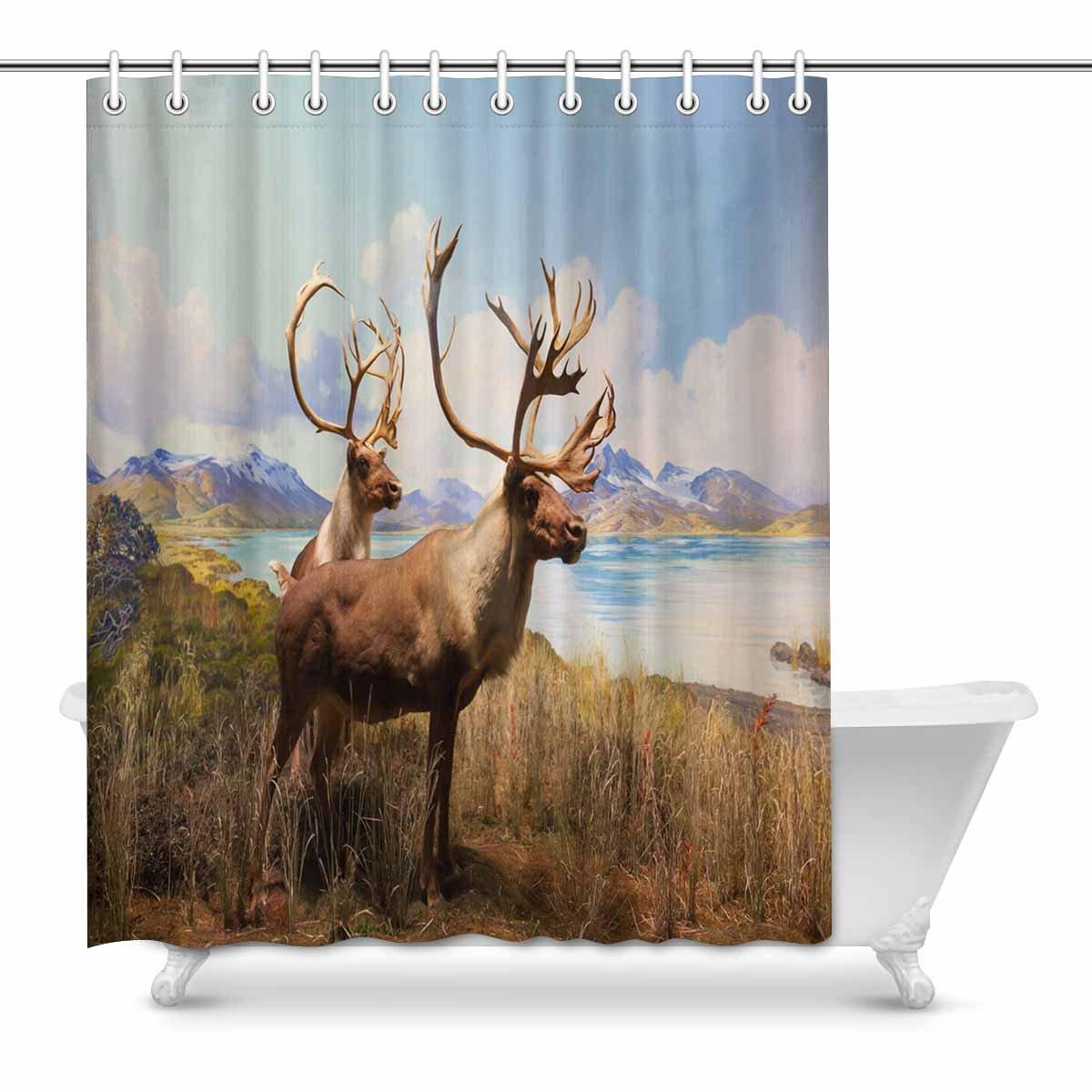 interestprint Herdの鹿アートの印刷ポリエステルファブリックシャワーカーテンセット 60 海外輸入 x 72インチ長 マルチ1 72 X inches 奉呈 B07BDGV3VZ