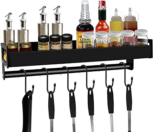 Aneder Spice Rack Organizer with S Hooks Wall Mounted Holder Metal Floating Shelves with Towel Bar and 6 Removable Hooks, Adhesive Drill Installation Storage Saving Space for Home Bathroom Kitchen