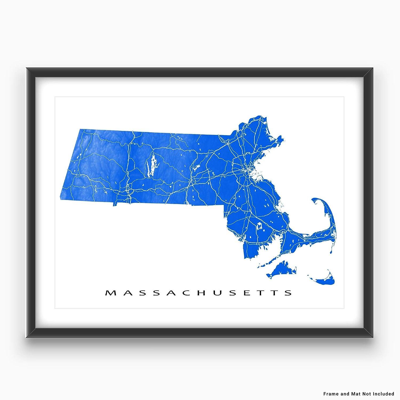 Amazon.com: Machusetts Map Art Print, MA State Outline, USA ... on