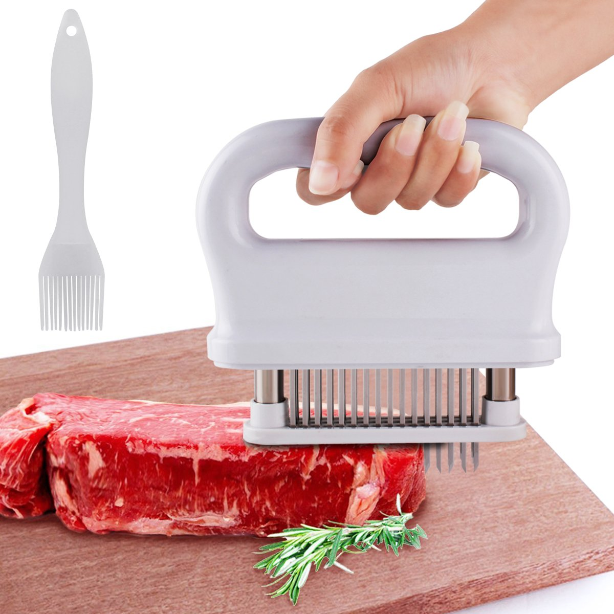 Kitchen Meat Tenderizer 48 Stainless Steel Needle Blades Blade Tenderizer Home Meat Tenderizer Tool Kitchen Cooking Tool for Steak Beef Pork Fish Chickens (White)