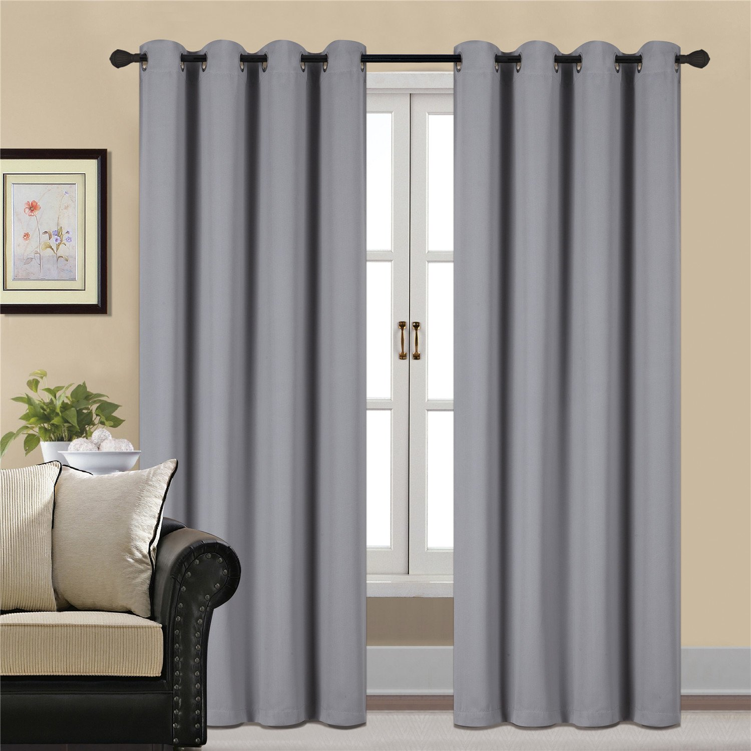 Blackout Curtains Thermal Insulated Grey For Bedroom