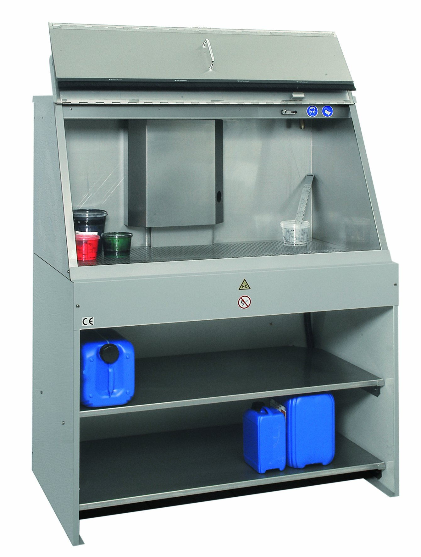 B-TEC Systems T-1200-2 Stainless Steel Large Capacity Mixing and Preparation Table with Optional Storage Shelves and F-1300 Flap, 47'' Length x 27-1/2'' Width x 70'' Height,for Solvent or Water