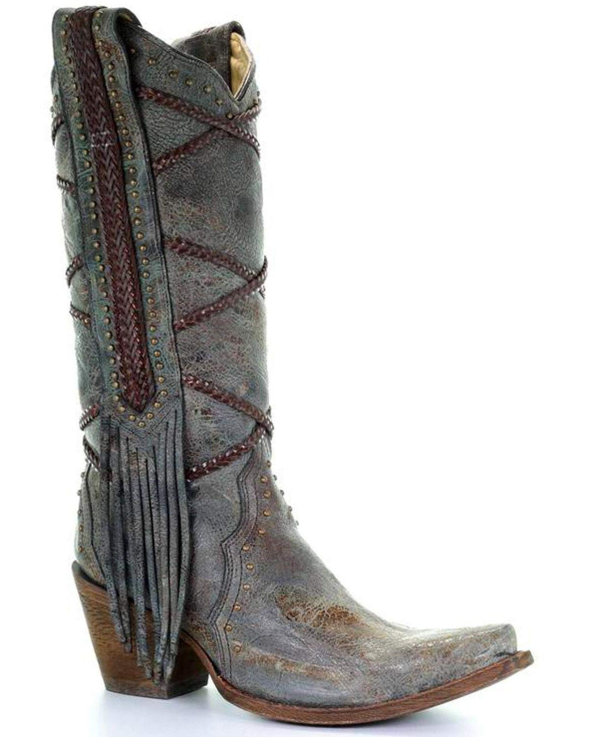 20a75a1738d Amazon.com  Corral Women s 13-inch Blue Brown Braiding   Fringe Snip Toe  Distressed Cowboy Boots  Sports   Outdoors