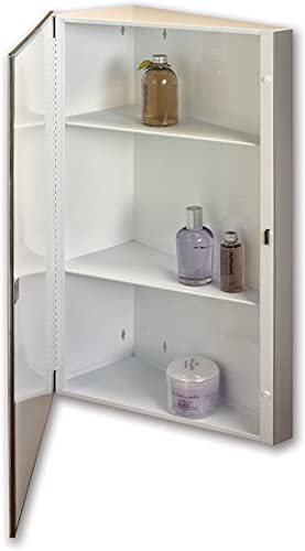 Jensen 867P36WHX Corner Bevel Mirror Medicine Cabinet, 16 x 36