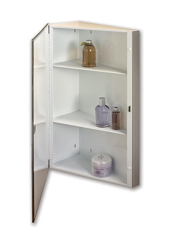 Jensen 867P36WH Corner Medicine Cabinet with Beveled Mirror, 16-Inch by 36-Inch
