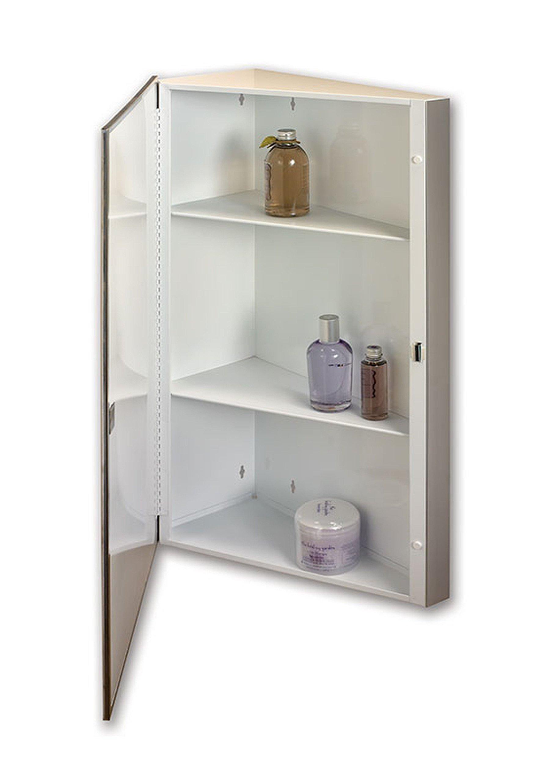 Jensen 867P36WHX Corner Bevel Mirror Medicine Cabinet, 16'' x 36''
