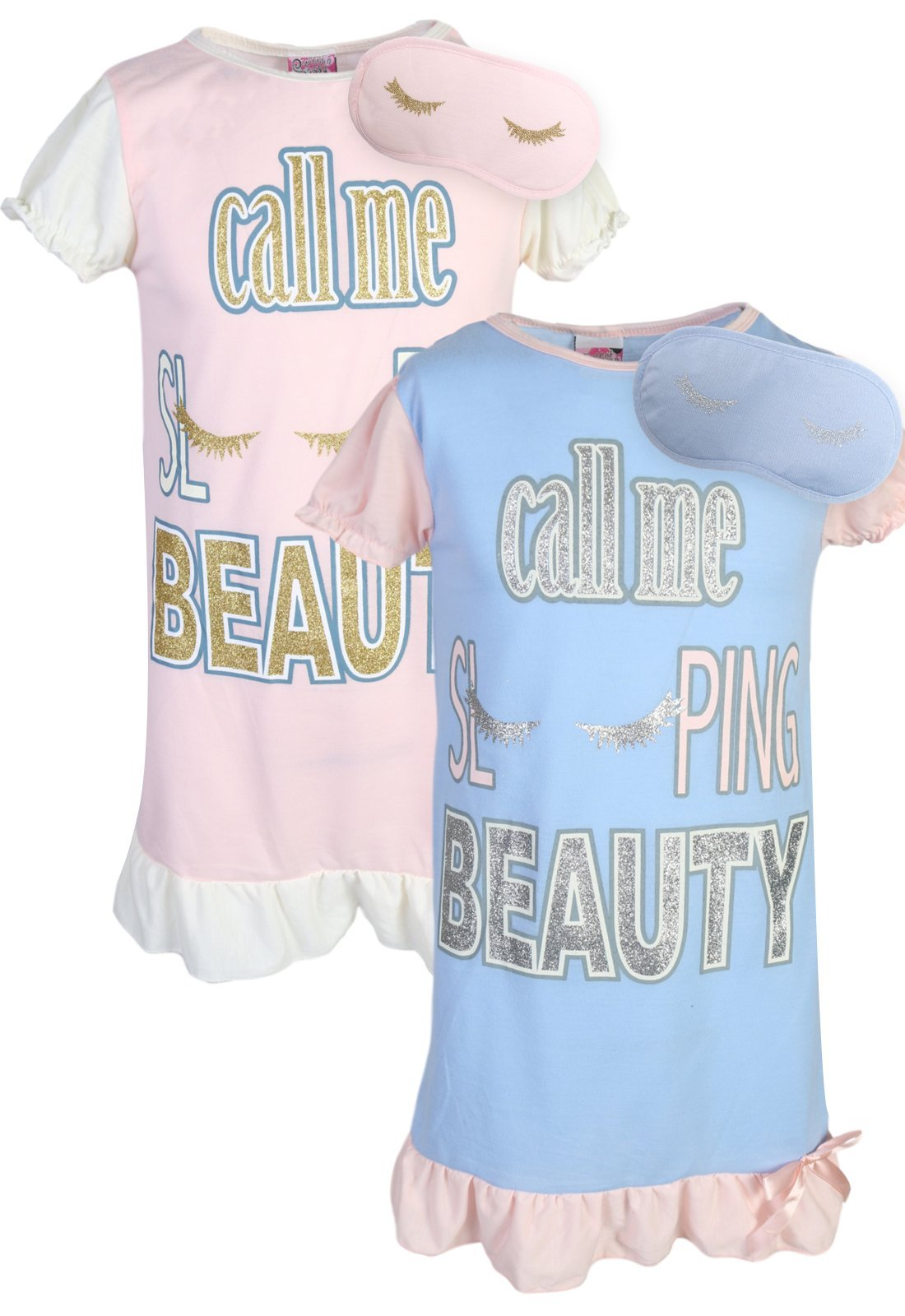 Sweet & Sassy Girls Short Sleeve Nightgown Pajama with Eye Mask (2 Pack) Sleeping Beauty, Size 14'
