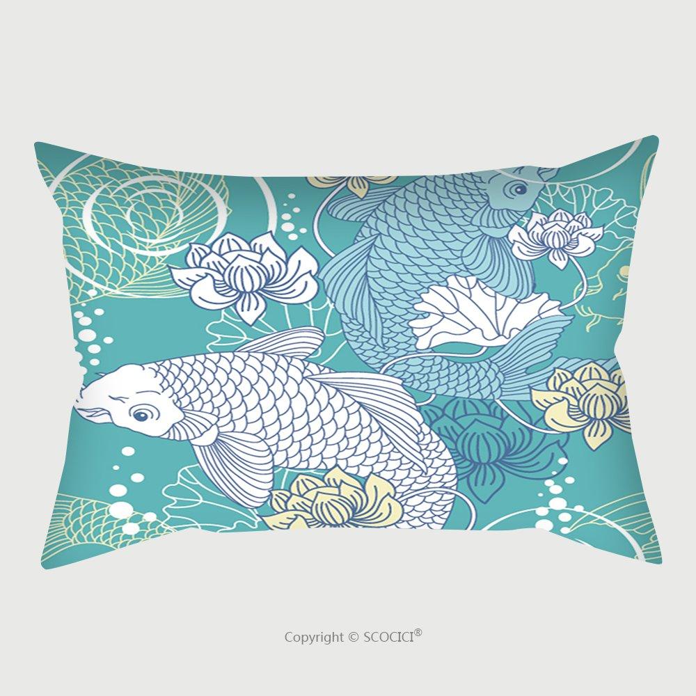 Custom Satin Pillowcase Protector Koi Carp Seamless Pattern Pillow Case Covers Decorative