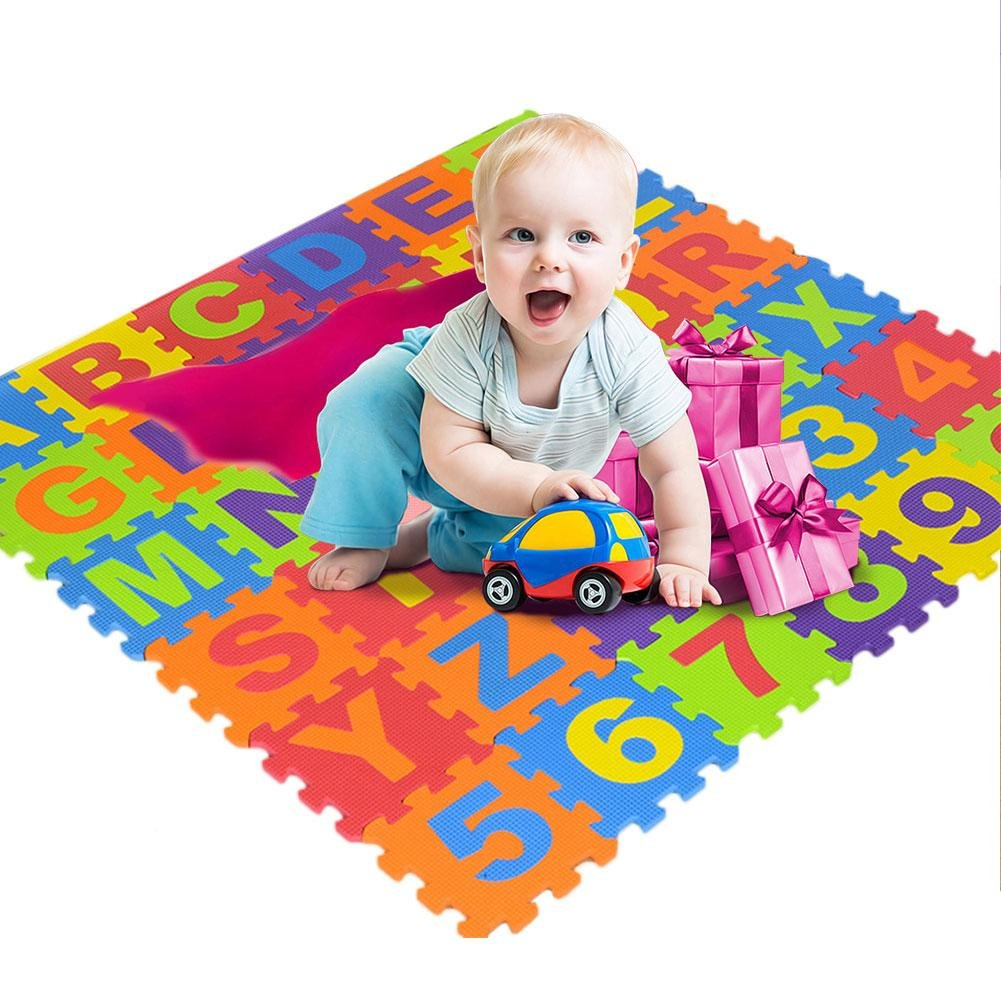 36Pcs Jigsaw Puzzle Mat EVA ABC Digital Letter Educational Foam Mat Cold-Proof Environmentally Friendly Baby Crawling Climbing Mat