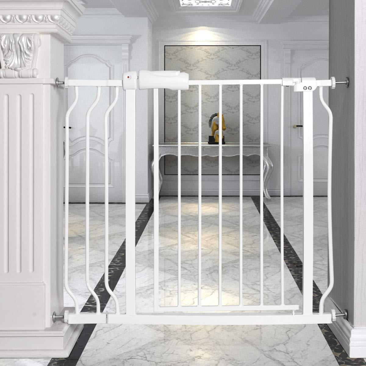 PETSJOY Walk Through Baby Gate Safety Pet Dog Gate for Stairs Door Hallway, Width Adjustable 29-38.5 Inch