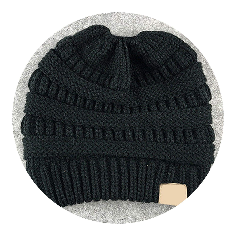 2018 Winter Women Hat Stretch Knit Hat Messy Beautiful Bun Ponytail Beanie Holey Warm Hats Caps