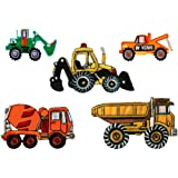 Mono-quick{312} para reparaciones de vehículos construcción imágenes, 5 teilig, Baufahrzeugmotive, 5,5 x 2,5 cm, 8,5 x 5,3 cm hasta, poliéster, bordado hilo de rayón viscosa