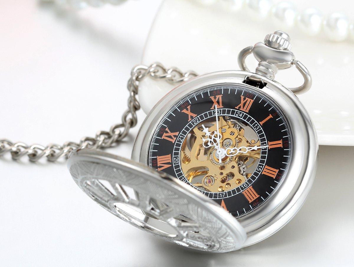 JewelryWe Deluxe Wheel Style Pocket Watch, Mechanical Movement Hand Wind Pocket Watch, Half Hunter Watch with Chain by Jewelrywe (Image #2)