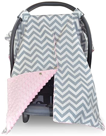Premium Carseat Canopy Cover Nursing Large Chevron Pattern W Soft Pink Minky