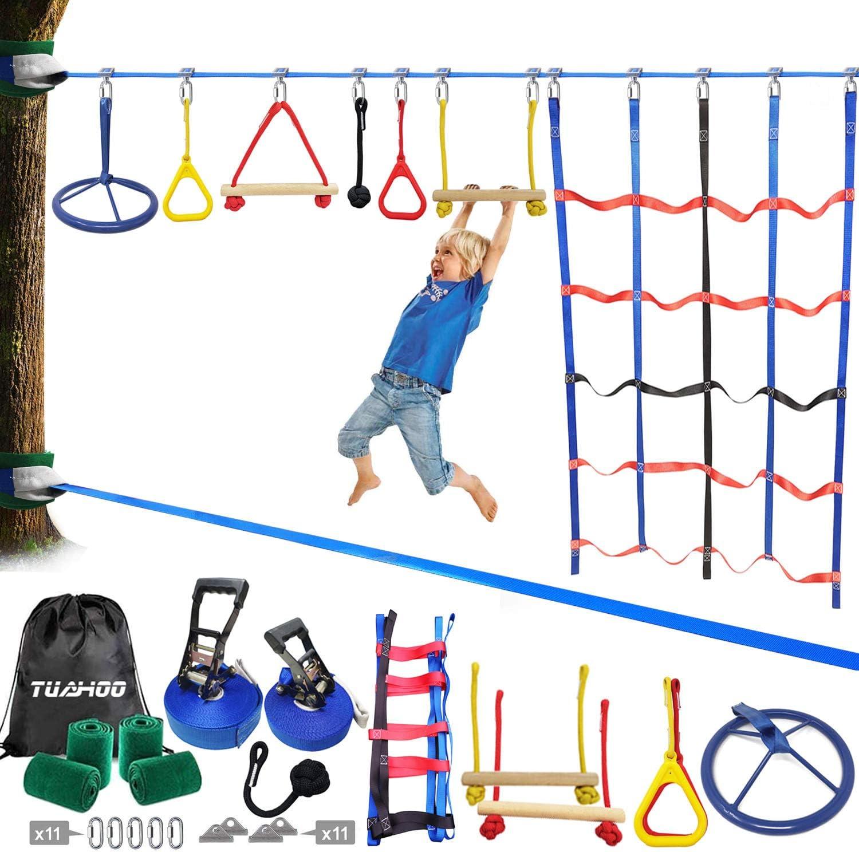 TUAHOO 50FT Ninjaline Slackline Ninja Obstacle Course for Kids Outdoor Ninja Warrior Training Equipment Backyard Monkey Bar Kits, Climbing Net , Ninja Wheel