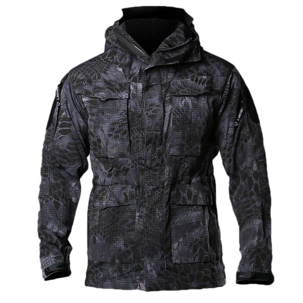 EDTara Men Jacket Casual Coat Wear-resistant Windproof Breathable Multifunctional Softshell Jackets Black Python M