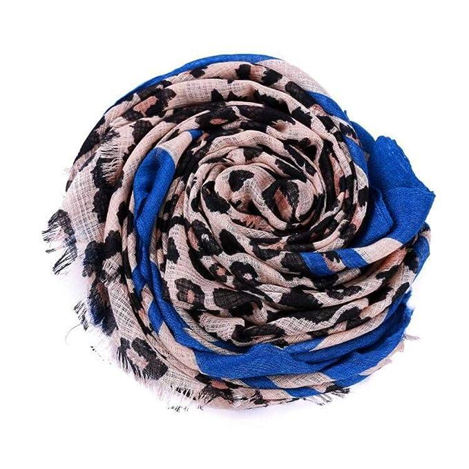92560ef3b7d2 Yvelands Solde Femme L Hiver Motif LéOpard Impression Fluff ÉPaissir Pompon  éCharpe Foulard(Bleu,Free Size)  Amazon.fr  Vêtements et accessoires