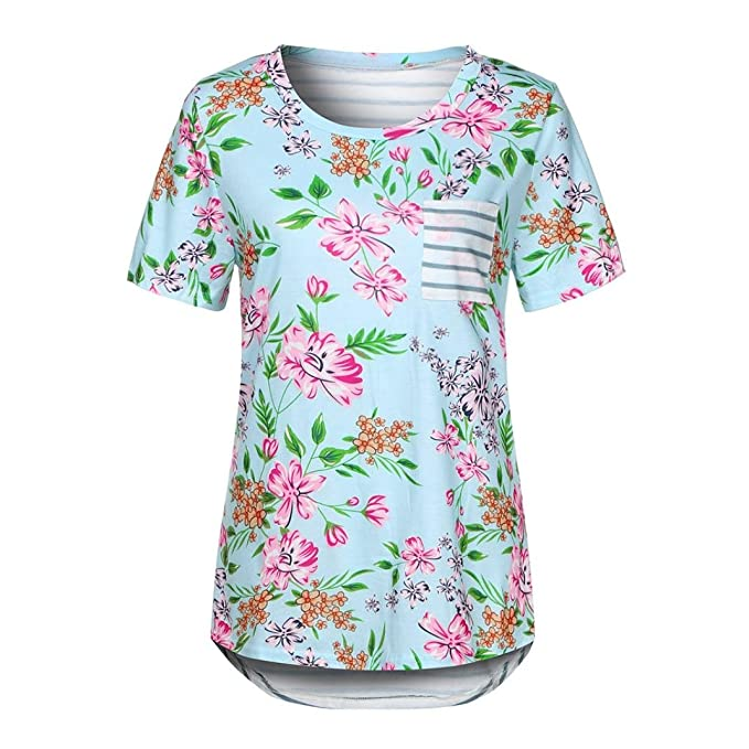 075067ee4f Amazon.com: vermers Women's Floral Print Striped Tee Crew Neck Shirt Short  Sleeve Tops with Pocket: Clothing