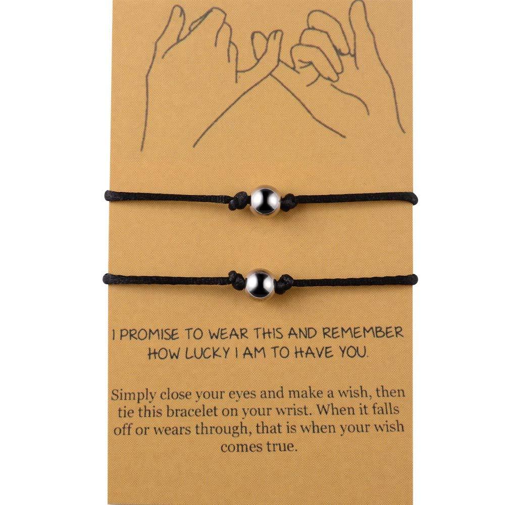 BOCHOI Distance Bracelets/Anklet for Best Friend Couples Friendship Bracelet Adjustable Waterproof Handmade Cord Relationship Bracelets for 2, Pinky Promise for Him and Her, Girlfriend Boyfriend