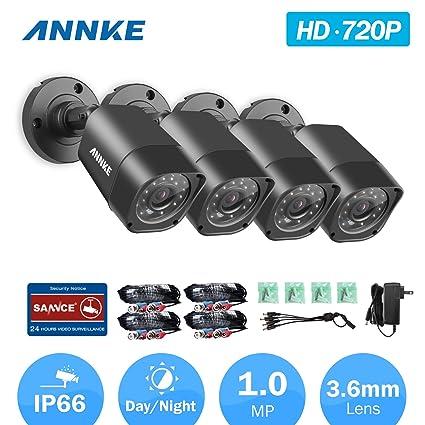 [1280*720P HD] ANNKE Kit de 4 Cámaras de Vigilancia Seguridad (Onvif