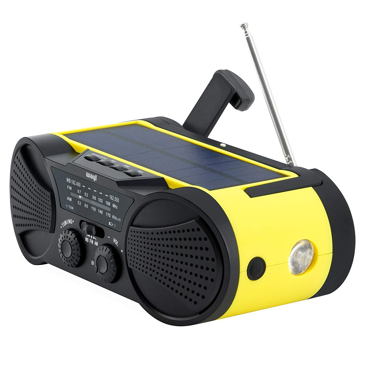 Emergency Weather Radio 4000mAh - Portable, Solar Powered, Hand Crank, AM FM NOAA Weather Stations, USB Cell Phone Charger, SOS Alarm, LED Flashlight & Reading Light Radio - Buzz4000 by Wayl