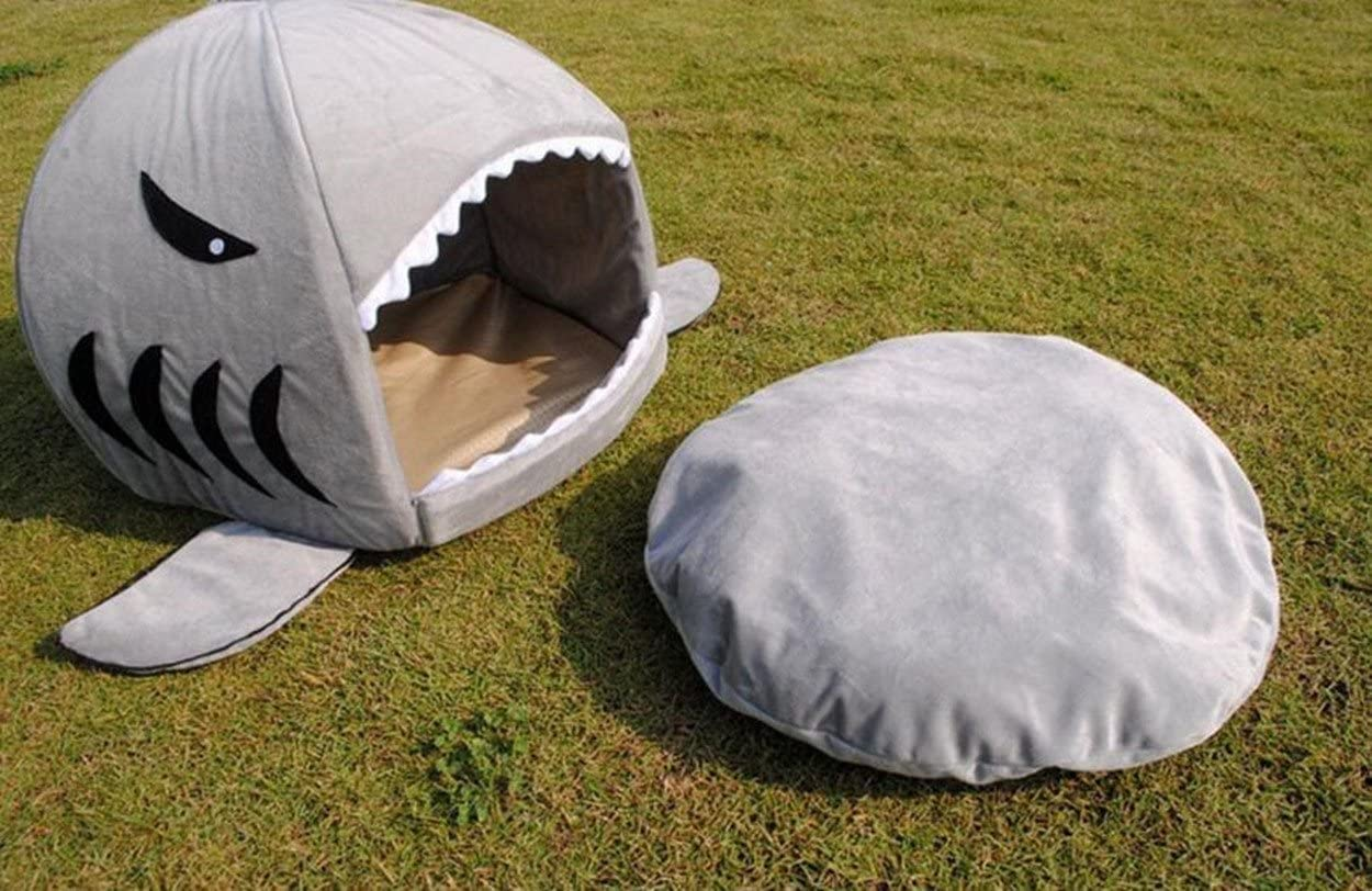 KAMIER Pet Bed, Shark Round Washable Soft Cotton Dog Cat Pet Bed