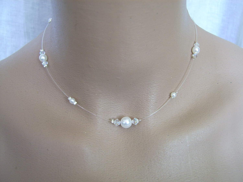 Collier Original Perle Blanc Cristal Swarovski Strass Femme ou ...