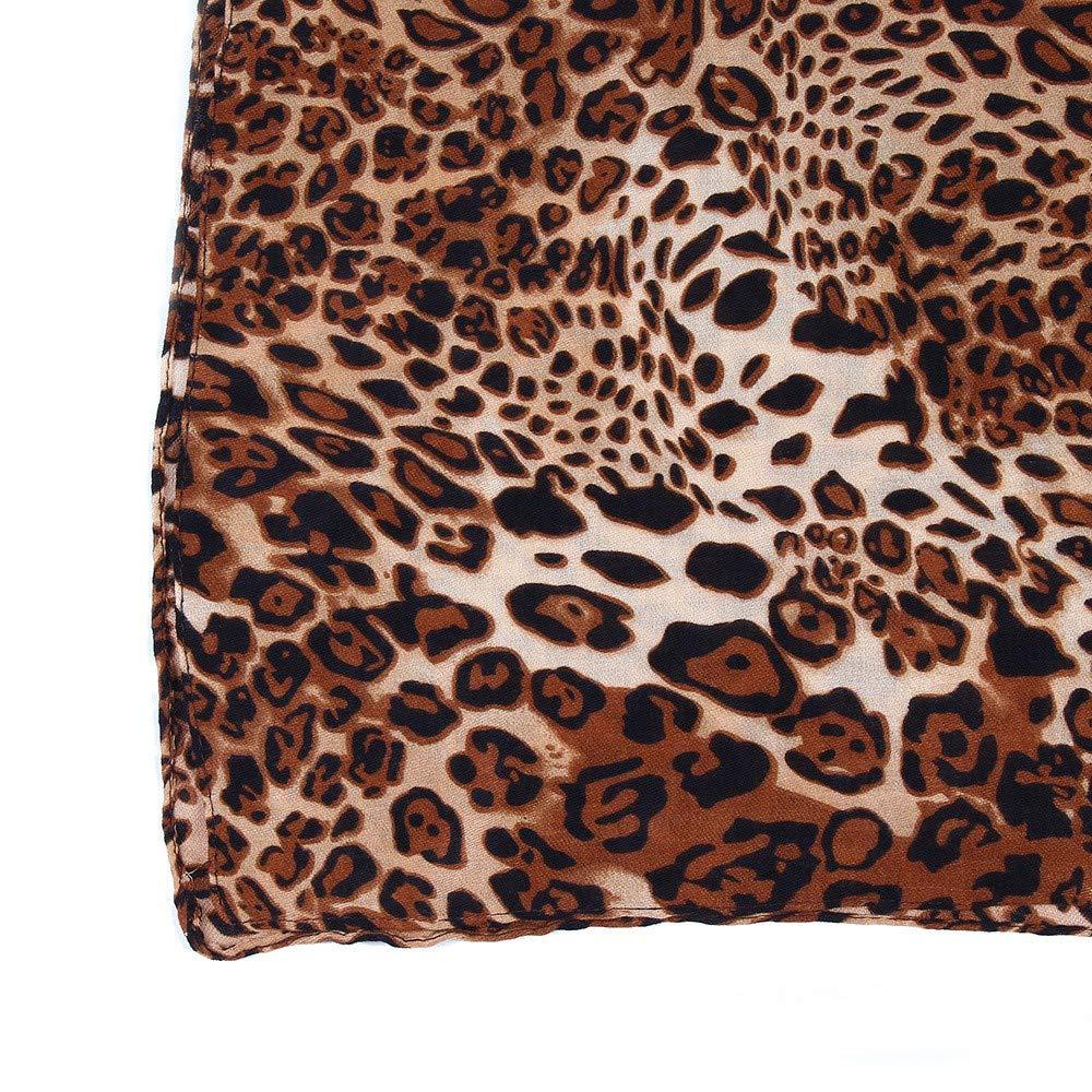 Women Leopard Shaw Scarf Retro Shawls Wraps Light Scarf